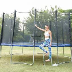 12&14&15 FT Outdoor Adult Kids Trampoline with Safety Enclos