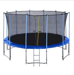 10-16FT Outdoor Trampoline with Intra Enclosure Net Frame Co