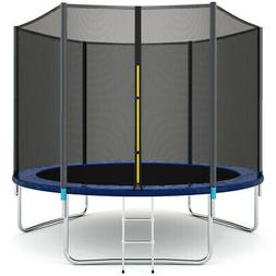 10 FT Trampoline Combo Bounce Jump Safety Enclosure Net W/Sp