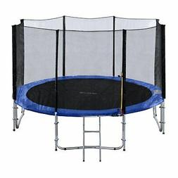 ExacMe 12 Foot Trampoline with Safety Pad, Enclosure Net, an