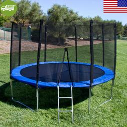 "12"" Outdoor Large Round Trampoline With Enclosure, Net W/ Sp"