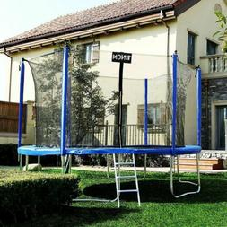 12FT Trampoline with Enclosure Net Pad Ladder Lawn Stakes Bo