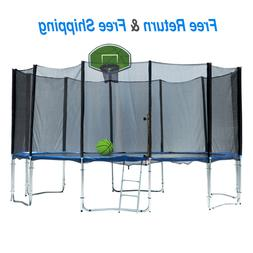 13FT Outdoor Round Trampoline with Enclosure Net Ladde Green