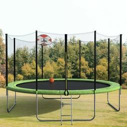 14FT 14-Feet Round Trampoline with Safety Enclosure, Basketb