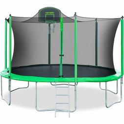 Merax 14 Ft Round Trampoline With Safety Enclosure, Basketba