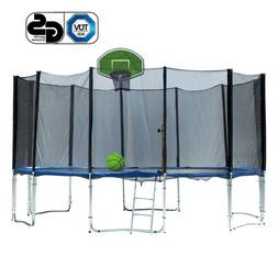 14FT Outdoor Round Safe Trampoline with Enclosure Net Green