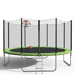 Merax 14FT Round Trampoline w/80PCS Springs And Enclosure Ba