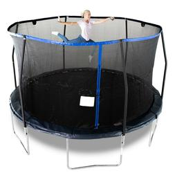 14FT Round Trampoline with Enclosure, Net W/ Spring Pad Ladd