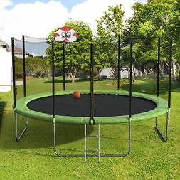 14FT Round Trampoline with Safety Enclosure Basketball Hoop