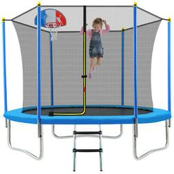 14FT Trampoline With Basketball Hoop Safety Enclosure Outdoo