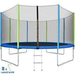 14FT Trampoline with Safety Enclosure Net Spring Pad and Lad