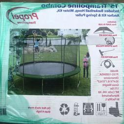 Propel 15 Foot Trampoline with Enclosed System and Dunk Zone