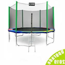 15 FT Round Trampoline for Kids with Enclosure Net W/ Spring