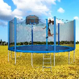 Merax 15FT Outdoor Round Trampoline with Safety Enclosure Ba