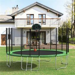 16FT Round Trampoline w/Safety Enclosure Basketball Hoops La
