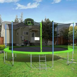 16FT Round Trampoline with Safety Enclosure Basketball Hoop