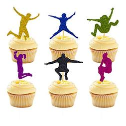 24 Packs Trampoline Cupcake Topper Bounce House or Jumping P