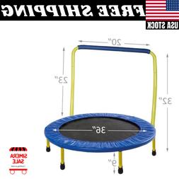 Gymenist 36-Inch Kid Trampoline, with Folding Handle Bar, Bl