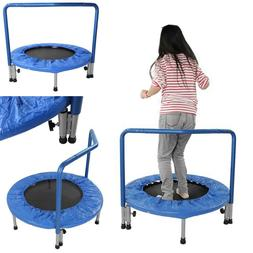 "36"" Mini Trampoline With Handle Stability Bar Kids Toy  Roun"
