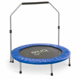 Pure Fun 40-Inch Exercise Trampoline With Handrail Blue One