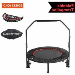 40'' Mini Foldable Trampoline With Bar Bouncing Exercise Wor