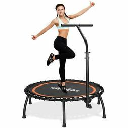 "40"" Silent Mini Fitness Trampoline with Adjustable Handrail"