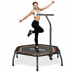 "45"" Silent Mini Fitness Trampoline with Adjustable Handrail"