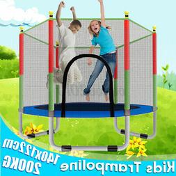 55 inch Kids Round Mini Trampoline Exercise Jumping Safety P
