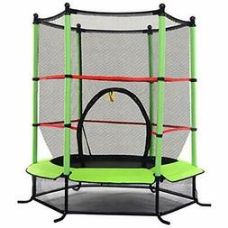 """55"""" Round Kids Mini Jumping Trampoline W/ Safety Pad Enclo"""
