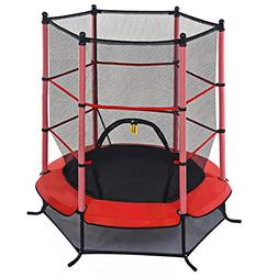 "Giantex 55"" Round Kids Mini Jumping Trampoline W/Safety Pa"