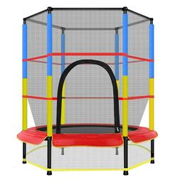 """55"""" Youth Jumping Round Trampoline Exercise W/Safety Pad Enc"""