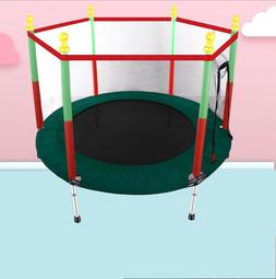 55in Kids Mini Jumping Round Trampoline Exercise W/ Safety P
