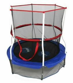 "60"" Round Kids Trampoline with Safety Walls Net Indoor Outdo"