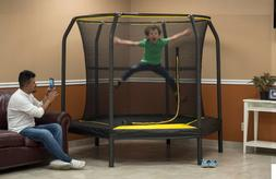 JumpKing 7.5-Foot Trampoline with Enclosure Black/Yellow Kid