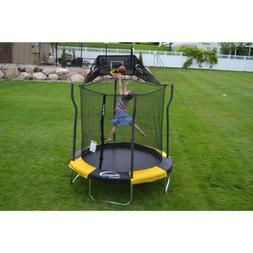 7' Enclosed Propel Trampoline With Basketball Hoop Slam Dunk