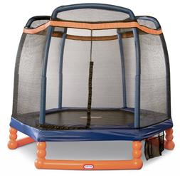 7 FT LITTLE TIKES HEXAGONAL OUTDOOR TRAMPOLINE With Enclosur