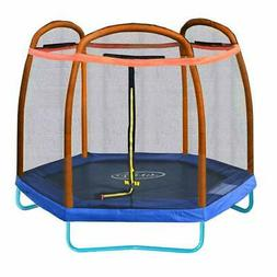 Clevr 7ft Kids Trampoline and Safety Enclosure Net & Spring