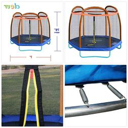 Clevr 7ft Kids Trampoline and Safety Enclosure Net Spring Pa