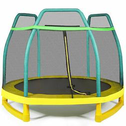 7ft Kids Trampoline Round Bounce Jumping Bed W/ Safety Enclo