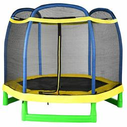 7ft youth trampoline round bounce jump w