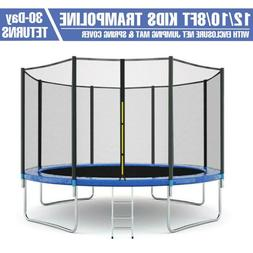 8/10/12FT Kids Trampoline With Enclosure Net Jumping Mat & S