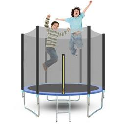 8FT Kids Trampoline With Enclosure Net Jumping Mat And Sprin