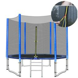 8FT Round Trampoline with Safety Net Enclosure & Ladder for
