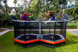 Bounce Pro Battle Zone 8 x 14-Foot Double Trampoline, with E