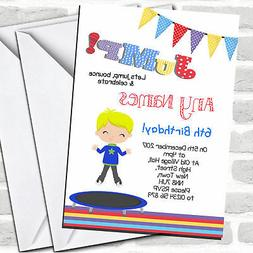 Blonde Boy Trampoline Children's Birthday Party Invitations
