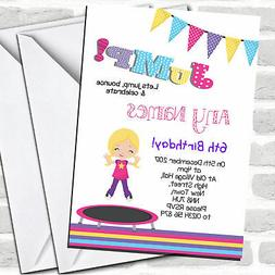 Blonde Girl Trampoline Children's Birthday Party Invitations