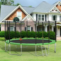 Bounce Trampoline with Safety Enclosure Net, Ladder, Spring