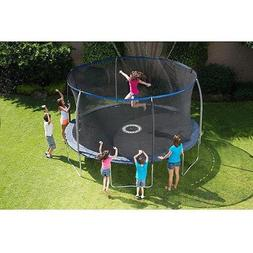 BouncePro 14' Trampoline with Enclosure and Game, Blue