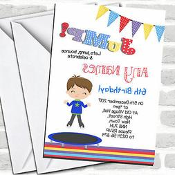 Brunette Boy Trampoline Children's Birthday Party Invitation