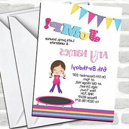 Brunette Girl Trampoline Children's Birthday Party Invitatio